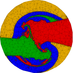 A mesh made by the RSE algorithm uses the same number of vertices, but better reveals the details of the boundary between impact and continuation.