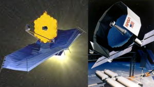 NASA - James Webb Space Telescope (left), 20 meter far-infrared concept.